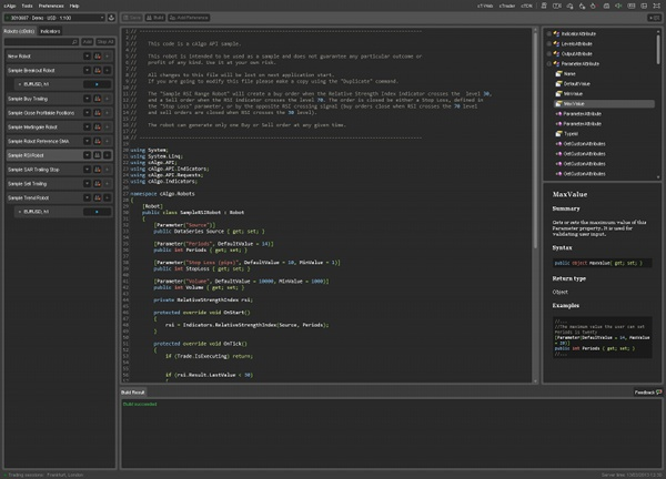 cAlgo IDE with Sample Code