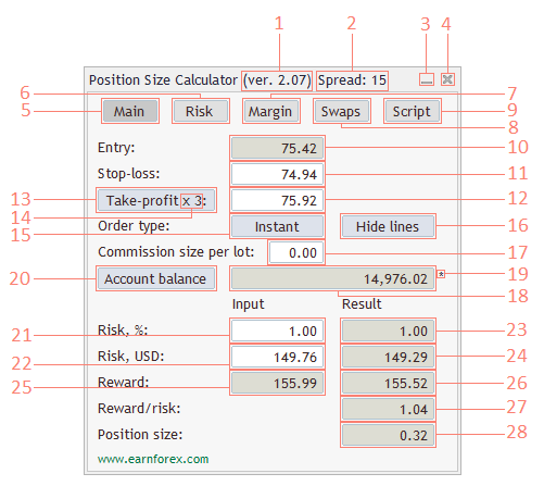 Earn forex position size calculator