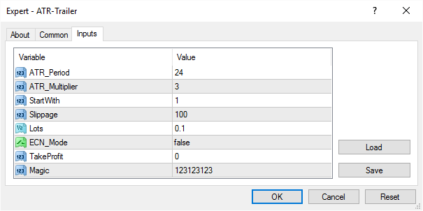 Modify the EA's Input Parameters