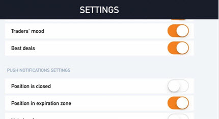 IQ Option - Settings