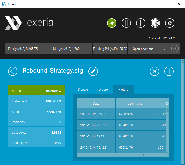 Exeria - Strategy Running in Demo Account