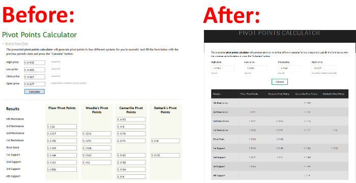 Calculators - Before and After Redesign