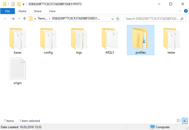 Opening profiles folder in MT5