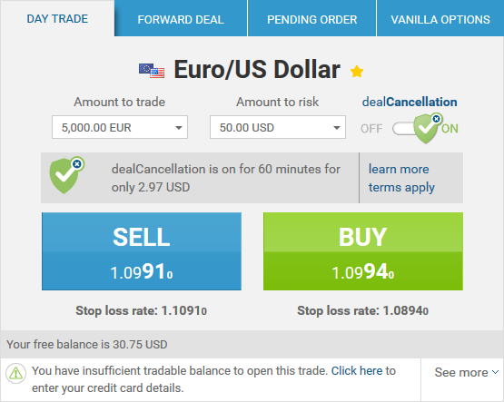 Price for dealCancellation on EUR/USD