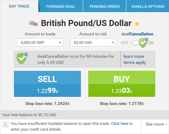 dealCancellation interface for GBP/USD currency pair