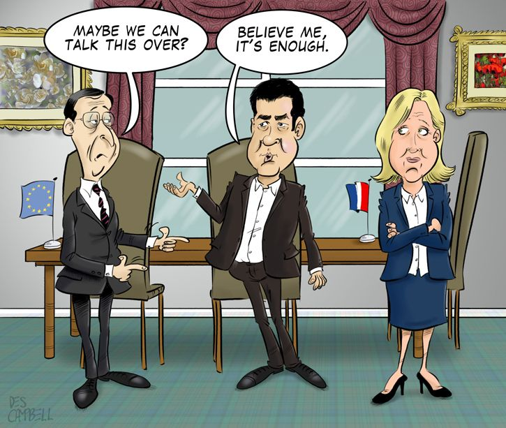 Mario Draghi with Alexis Tsipras and Marine Le Pen