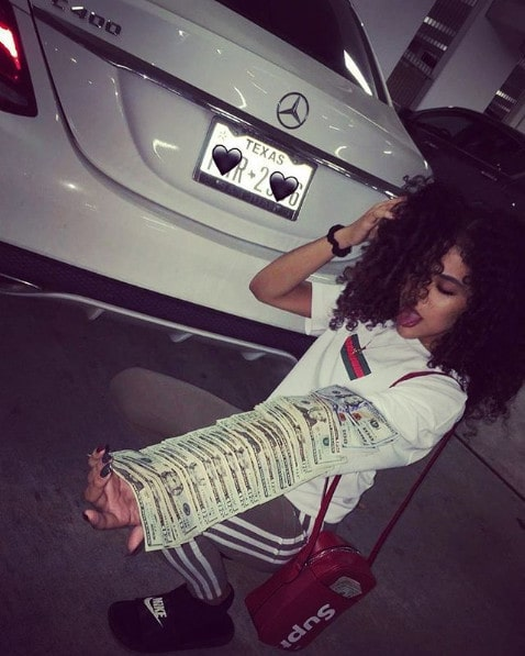 A girl, some money, and a car from Instagram