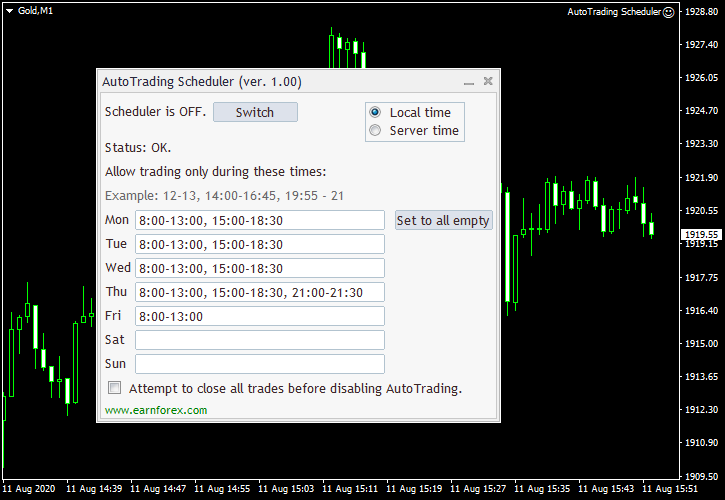 AutoTrading Scheduler EA with a five-day schedule