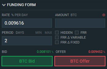 Bitfinex - Offer Margin Funding