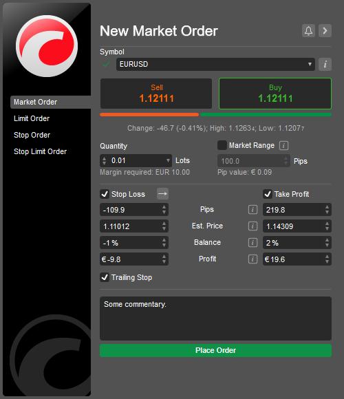 cTrader New Order Dialog
