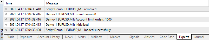 Sample Account Limit Orders Output in MT4 Platform