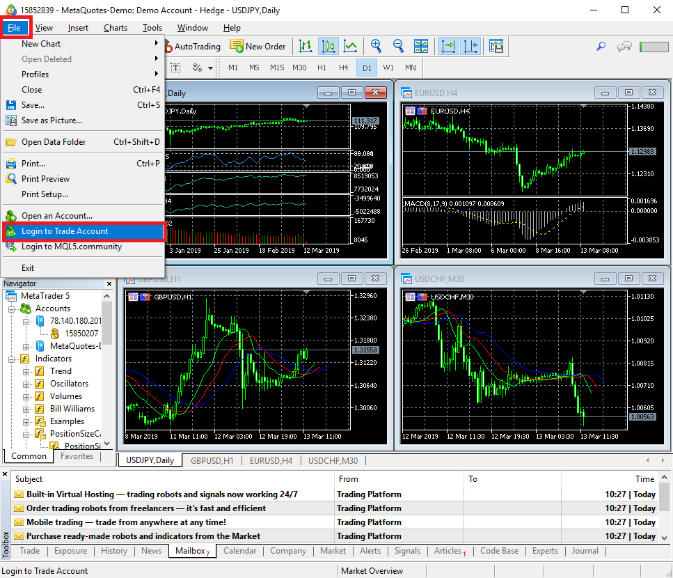 Logging into a demo account via MetaTrader 5