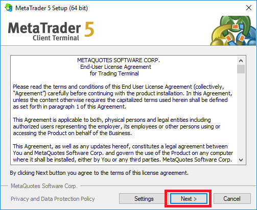 Agreeing to MetaTrader 5 EULA while installing the platform