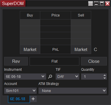 NinjaTrader - Static SuperDOM