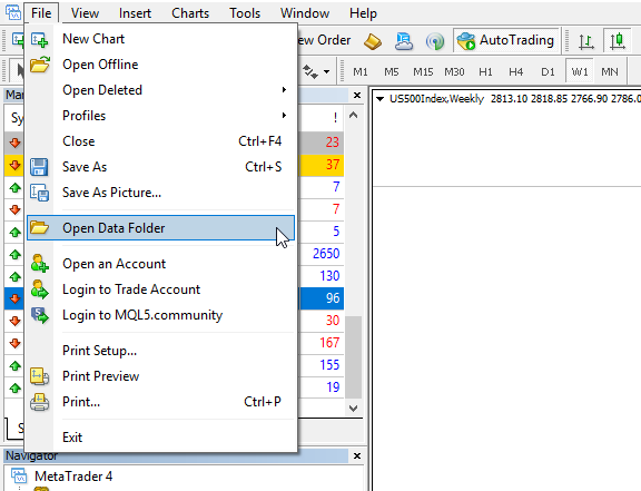 Open Data Folder in MetaTrader