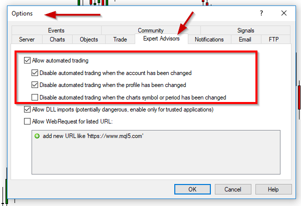 Enabling Automated Trading via Options Menu in MetaTrader 4