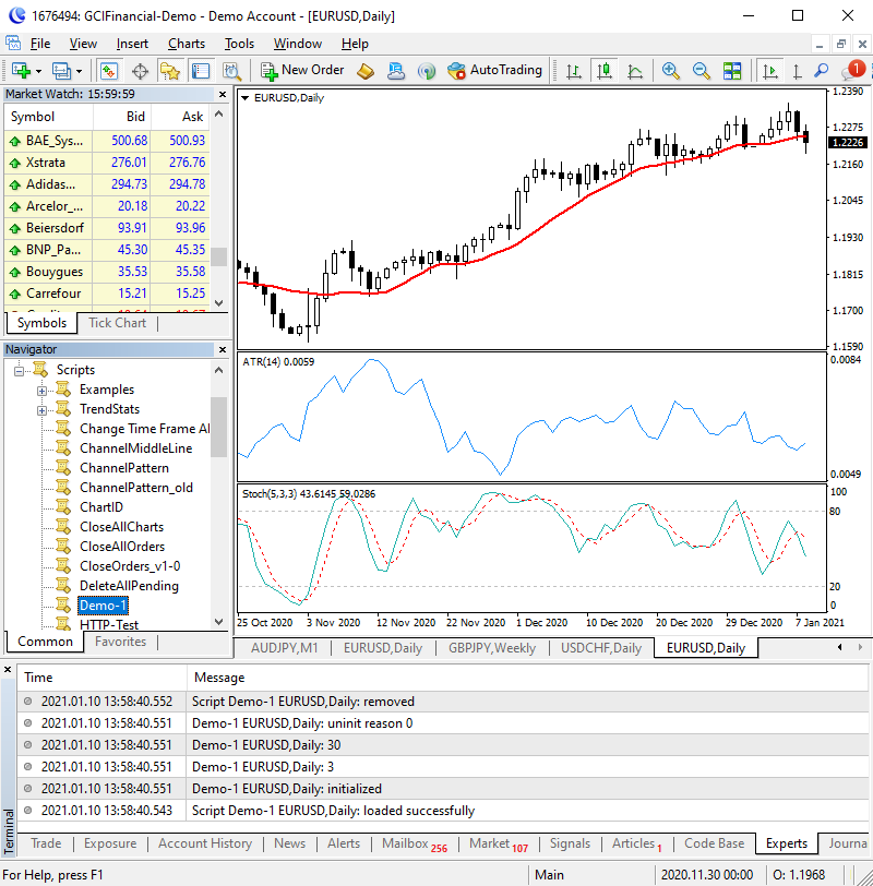 Output of MQL4 Function Demo Script in MT4