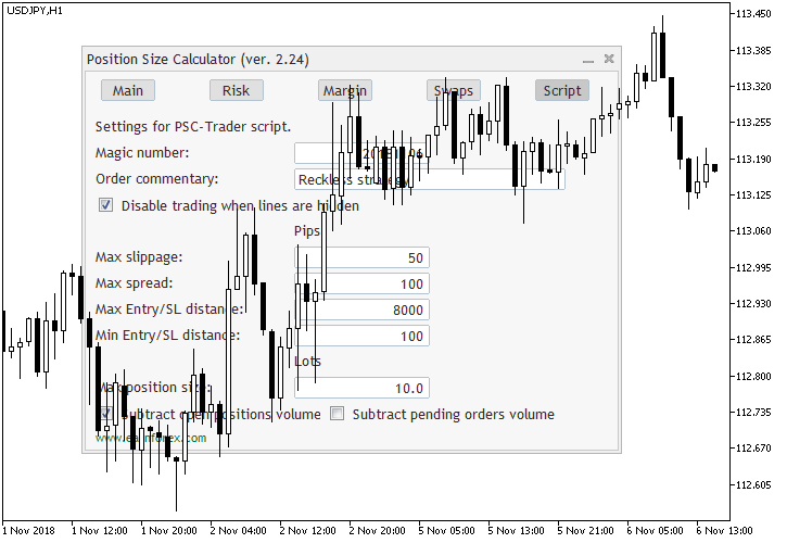 Position Size Calculator for MetaTrader